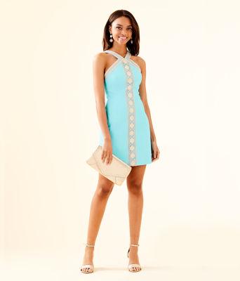 Vena Stretch Shift Dress, Bali Blue, large 3