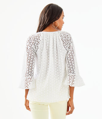 Willa Flounce Sleeve Top, Resort White Oval Flower Petal Eyelet, large