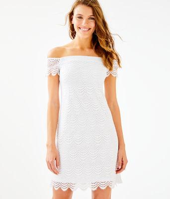 Jade Dress, Resort White Scalloped Shell Lace, large