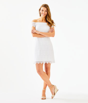 Jade Dress, Resort White Scalloped Shell Lace, large 3