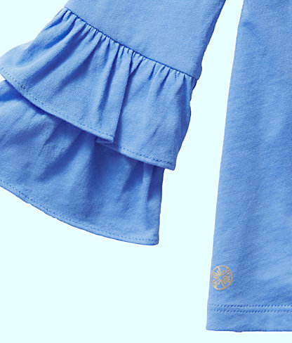 Girls Mazie Top, Coastal Blue, large 2