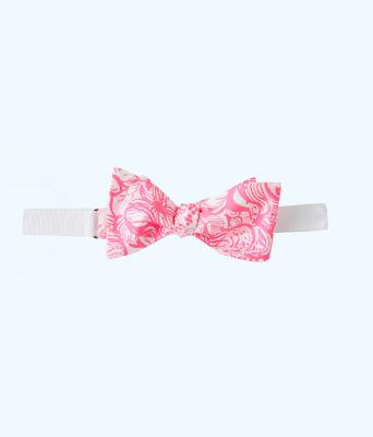 Mens Silk Bow Tie, Pink Tropics Tint Bunny Hop Tie, large