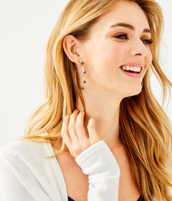 Gemma Pearl Hoop Earrings, Onyx, large