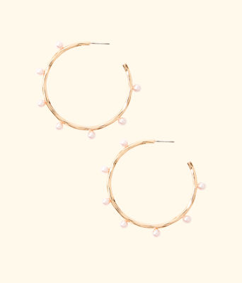 Gemma Pearl Hoop Earrings, Pink Tropics Tint, large 0