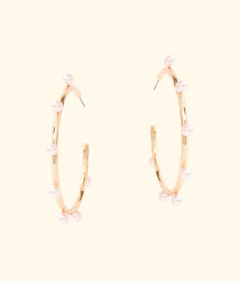 Gemma Pearl Hoop Earrings, Pink Tropics Tint, large 1