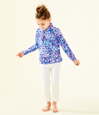 UPF 50+ Girls Little Skipper Popover, Royal Purple Party Wave, large 0
