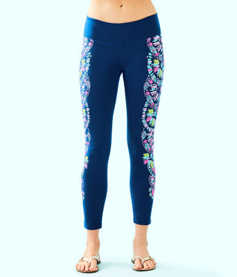 "UPF 50+ 24"" Weekender Midi Legging, Inky Navy Glow And Flow Engineered Legging Graphic, large 0"
