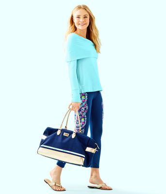 "UPF 50+ 24"" Weekender Midi Legging, Inky Navy Glow And Flow Engineered Legging Graphic, large 3"