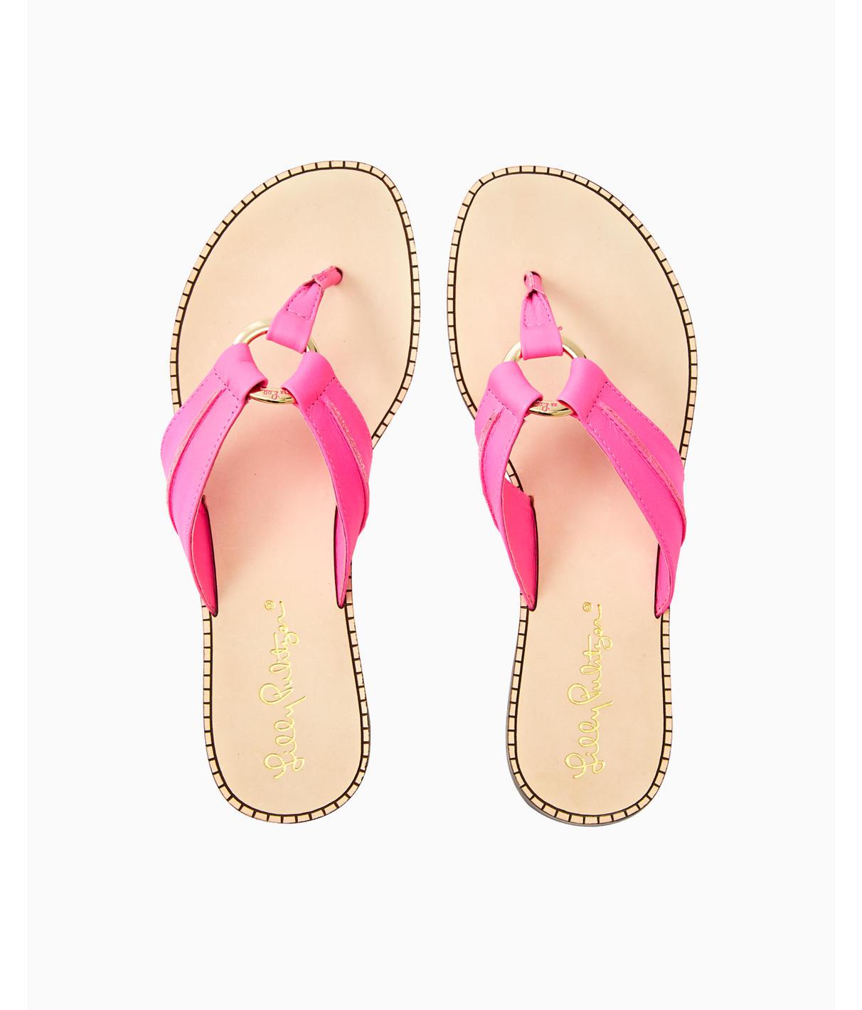 Lilly Pulitzer Womens Mckim Leather Sandal In True Navy