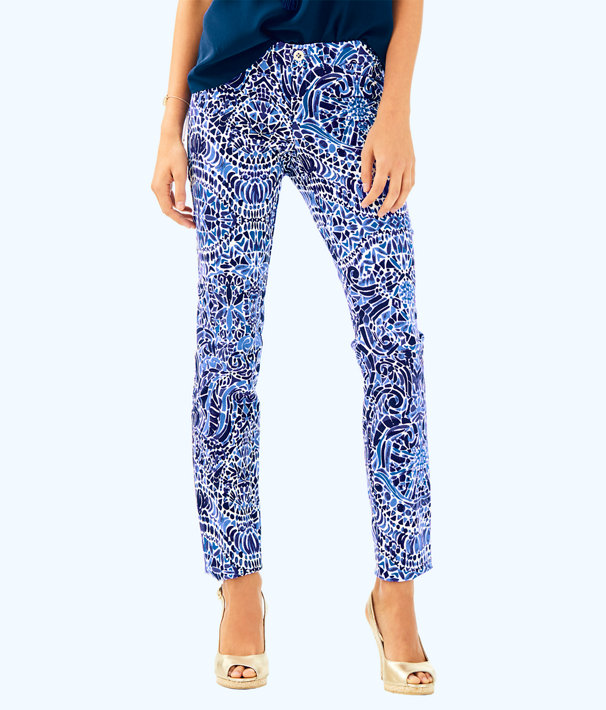"29"" Kelly Ankle Length Skinny Pant, Bright Navy Taverna Tile Allover, large"