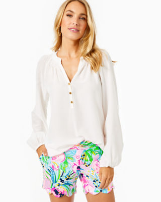 Elsa Silk Top, Resort White, large