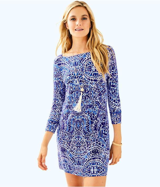 UPF 50+ Sophie Dress, Bright Navy Taverna Tile Allover, large
