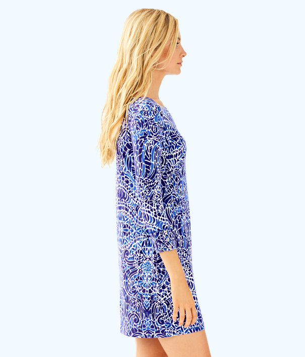 UPF 50+ Sophie Dress, Bright Navy Taverna Tile Allover, large