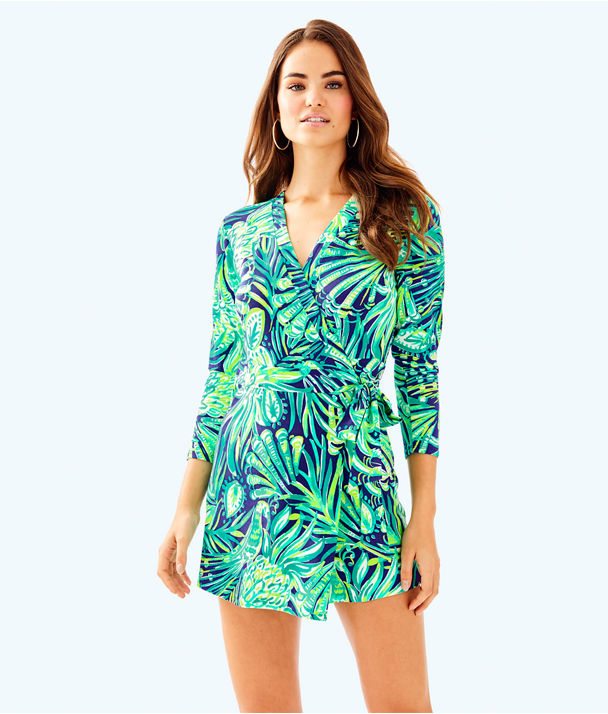 Karlie Wrap Romper, Bright Navy Party Like A Flock Star, large