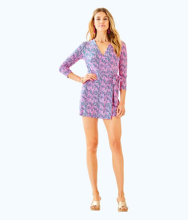 Karlie Wrap Romper, Mandevilla Pink Slathouse Stripe, large