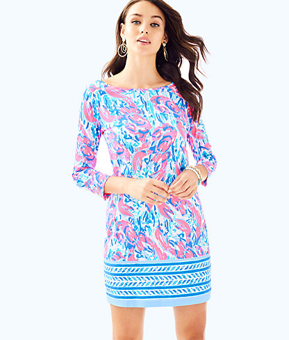 Marlowe Boatneck T-Shirt Dress, Cosmic Coral Cracked Up Engineered Dress, large