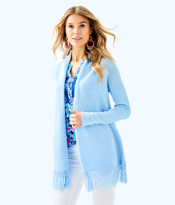 Tatum Long Fringe Hem Cardigan, Boho Blue, large