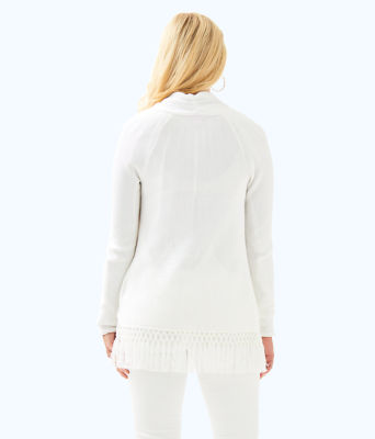 Tatum Long Fringe Hem Cardigan, Resort White, large 1