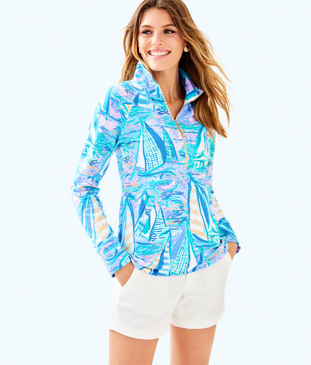 UPF 50+ Skipper Printed Popover, Light Lilac Verbena Aboat Time, large