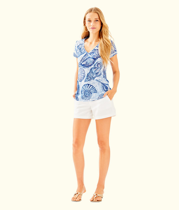 Etta V-Neck Top, Blue Peri Pop Up Stuffed Shells, large