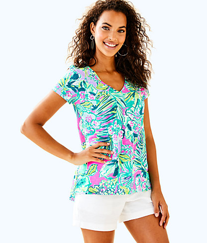 Etta V-Neck Top, Multi Early Bloomer, large