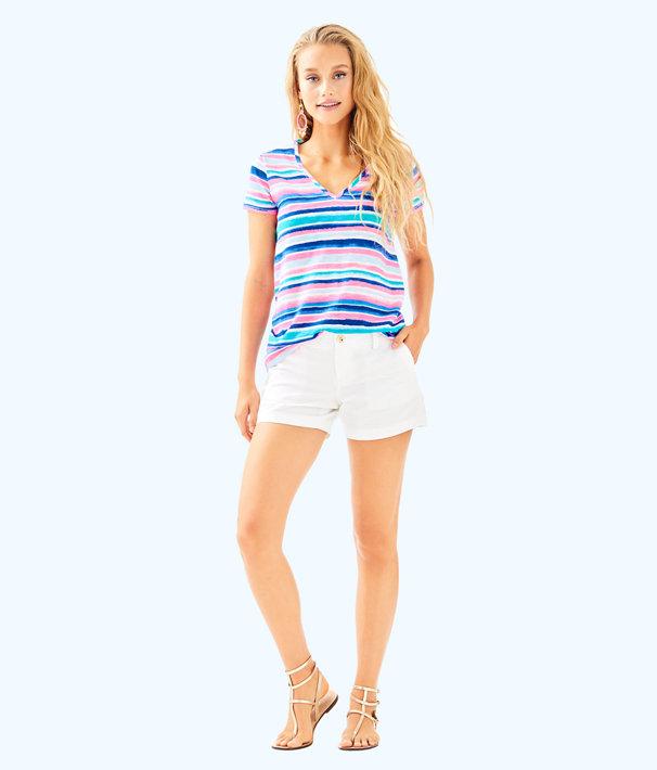 Etta V-Neck Top, Multi Sandy Shell Stripe, large