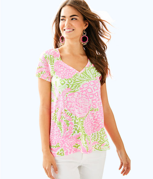 Etta V-Neck Top, Pink Sunset Home Slice, large