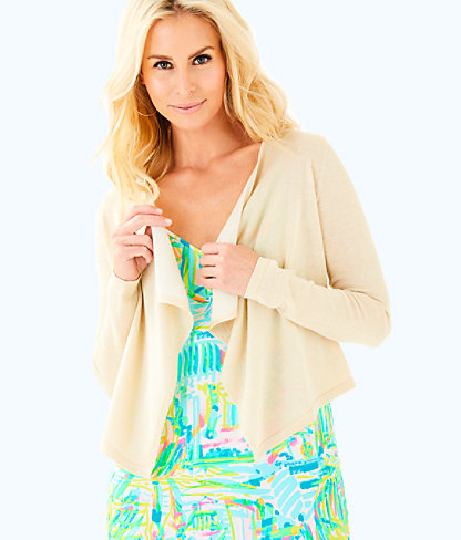 Colony Open Drape Front Cardigan, Gold Metallic, large