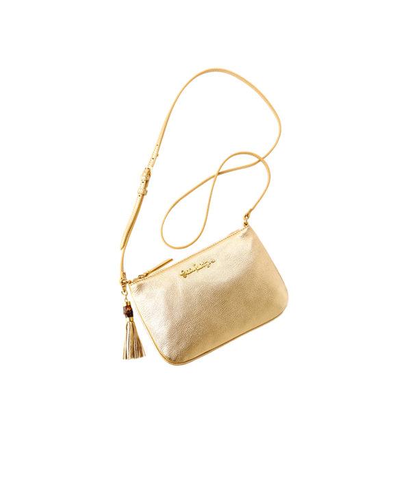 Cruisin Leather Crossbody Bag, Gold Metallic, large