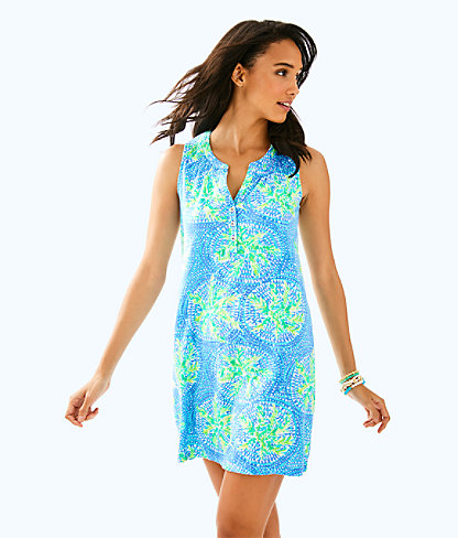 Sleeveless Essie Dress, Bennet Blue Tropic Like Its Hot, large