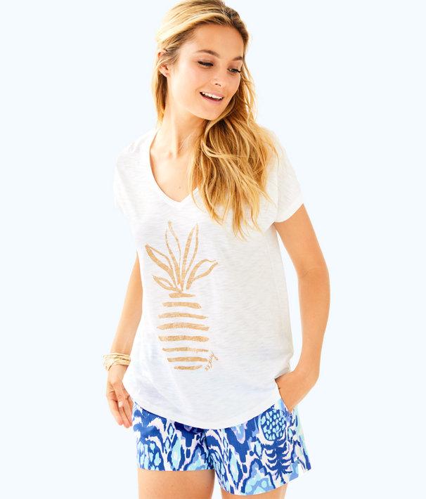 Colie T-Shirt, Resort White Glitter Stripe Pineapple Large, large