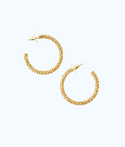 Sea Urchin Hoop Earrings, Gold Metallic, large