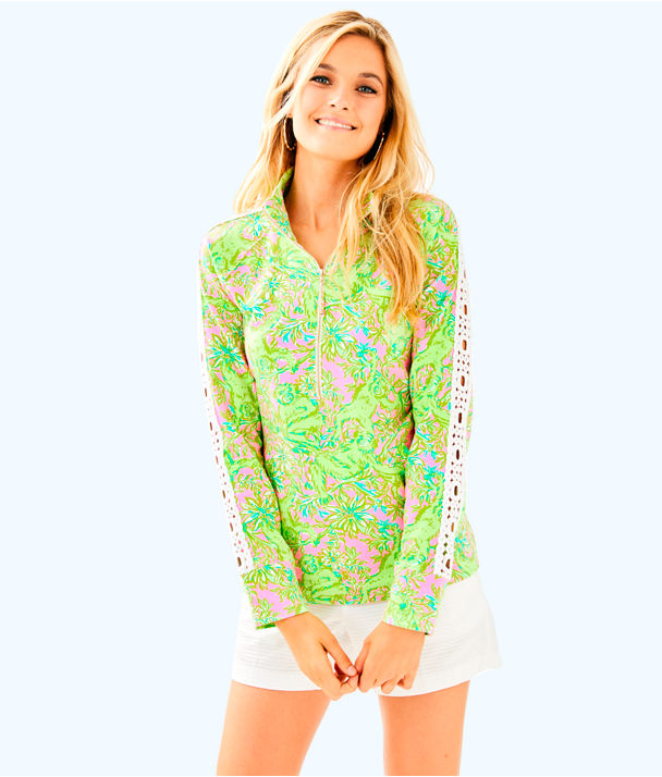 Skipper Printed Popover - Lace Sleeve, Pelican Pink Pop Up Chimply Chic, large