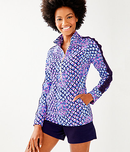 Skipper Printed Popover - Lace Sleeve, Royal Purple Pop Up Toe In, large