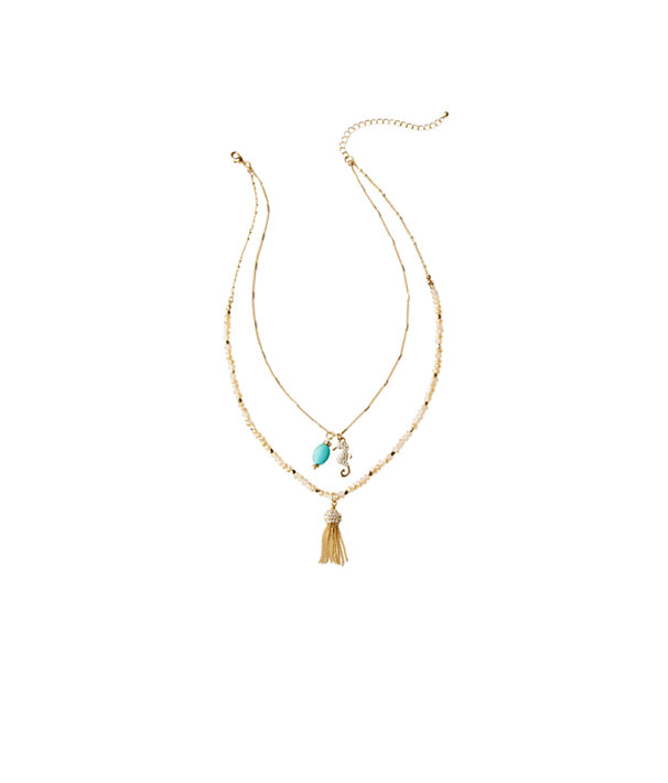Hooked You In Double Layer Necklace, Gold Metallic, large