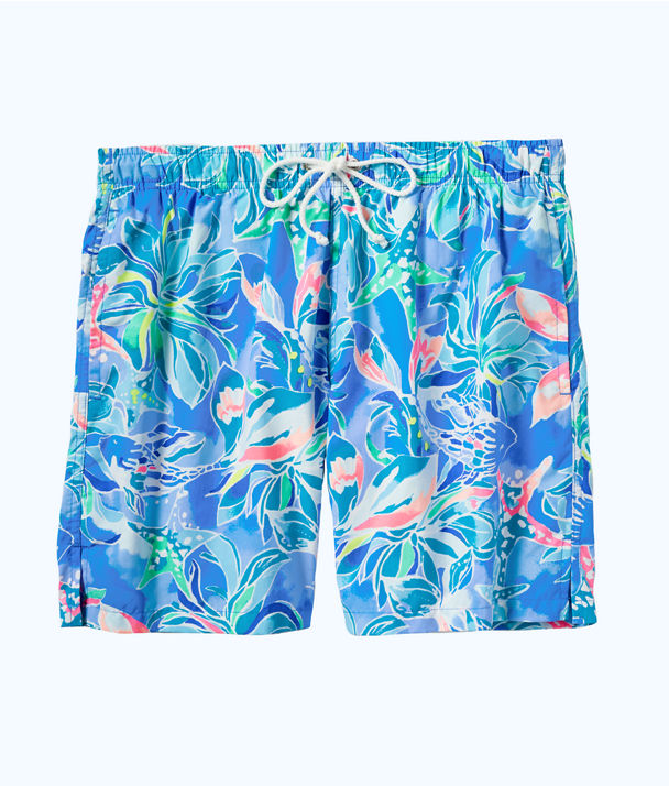 Mens Capri Swim Trunk, Bennet Blue Celestial Seas, large