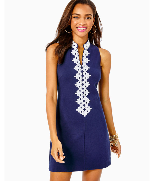 Callista High Collar Shift Dress, True Navy, large