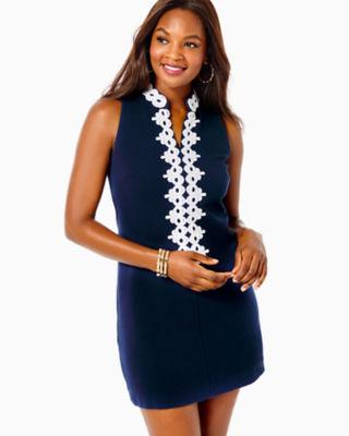 Callista High Collar Shift Dress, True Navy, large 0