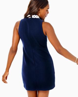 Callista High Collar Shift Dress, True Navy, large 1