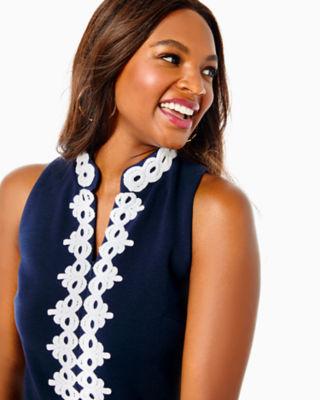 Callista High Collar Shift Dress, True Navy, large 3