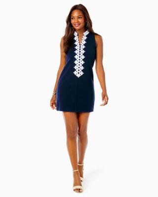 Callista High Collar Shift Dress, True Navy, large 4