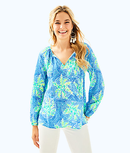 Willa Tunic Top, Bennet Blue Tropic Like Its Hot, large