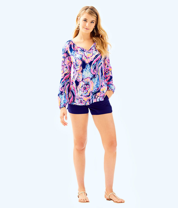 Willa Tunic Top, Nauti Navy Boho Bateau, large