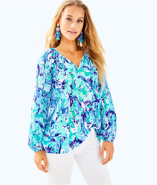 Willa Tunic Top, Tropical Turquoise Elephant Appeal, large