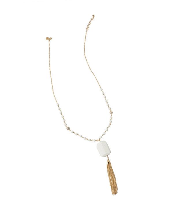 Coastal Tassel Necklace, Resort White, large