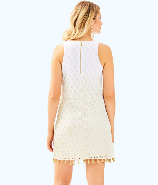 Marquette Shift Dress, Gold Metallic Island Time Lace Ombre Engineered, large
