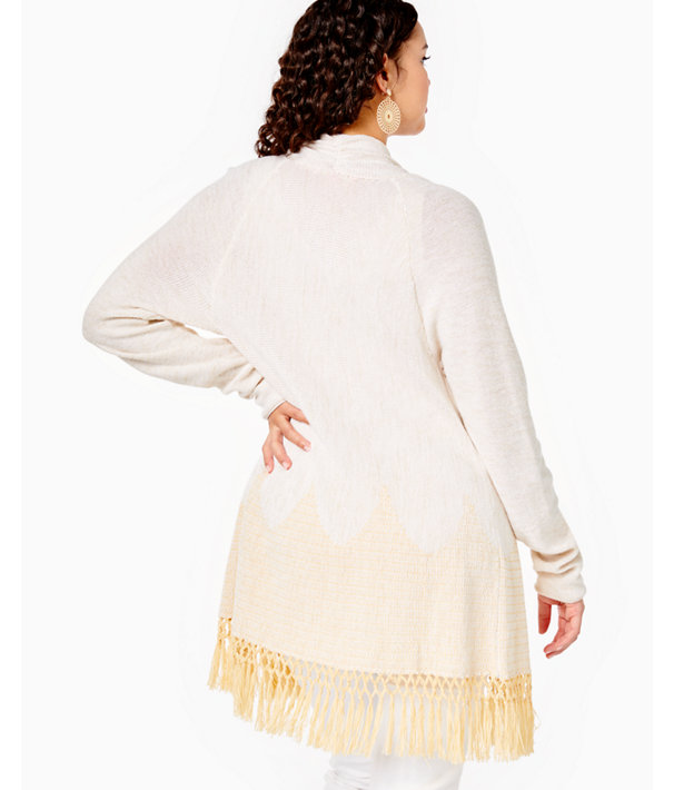 Tatum Long Fringe Hem Cardigan, Gold Metallic, large
