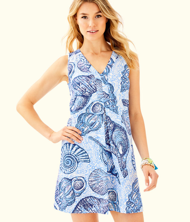 Amina V-Neck Swing Dress, Blue Peri Pop Up Stuffed Shells, large