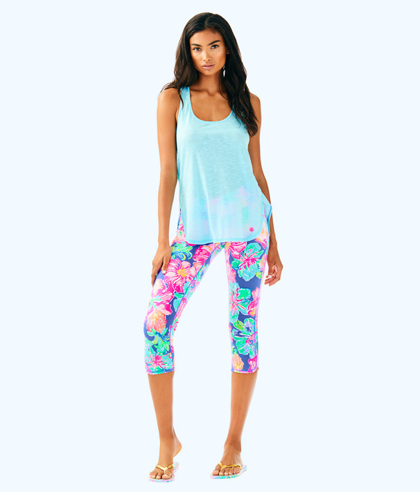 "UPF 50+ Luxletic 21"" Weekender Cropped Legging, Beckon Blue Jungle Utopia Small, large"