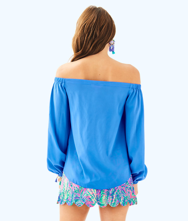 Adira Silk Off The Shoulder Top, Bennet Blue, large